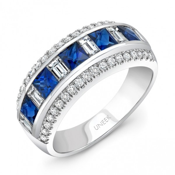 Uneek Princess-Cut Blue Sapphire Band with Baguette Diamond Accents, in 14K White Gold