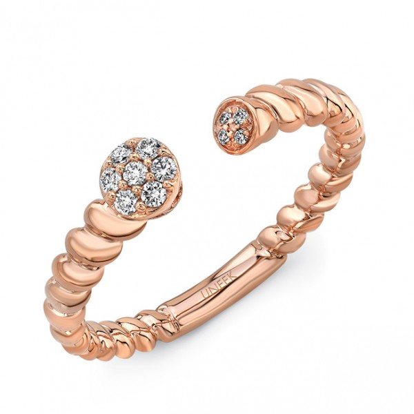 "Uneek ""Hayworth"" Stackable Diamond Ring in 18K Rose Gold"