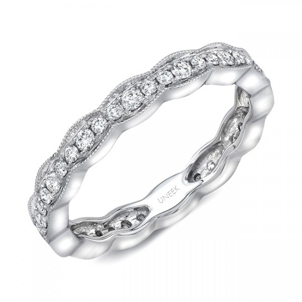 """Uneek """"Highland"""" Stackable Diamond Band in 18K White Gold"""