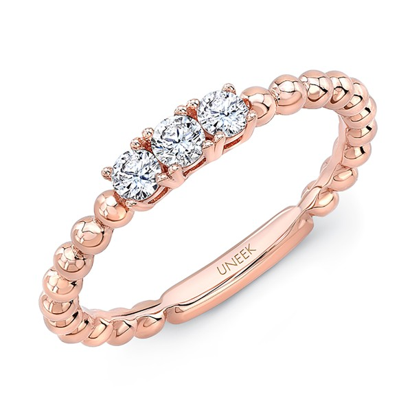 "Uneek ""Harper"" Stackable Diamond Band in 14K Rose Gold"