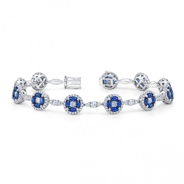 Uneek Marquise Blue Sapphire and Round Diamond Cluster Bracelet, in 18K White Gold