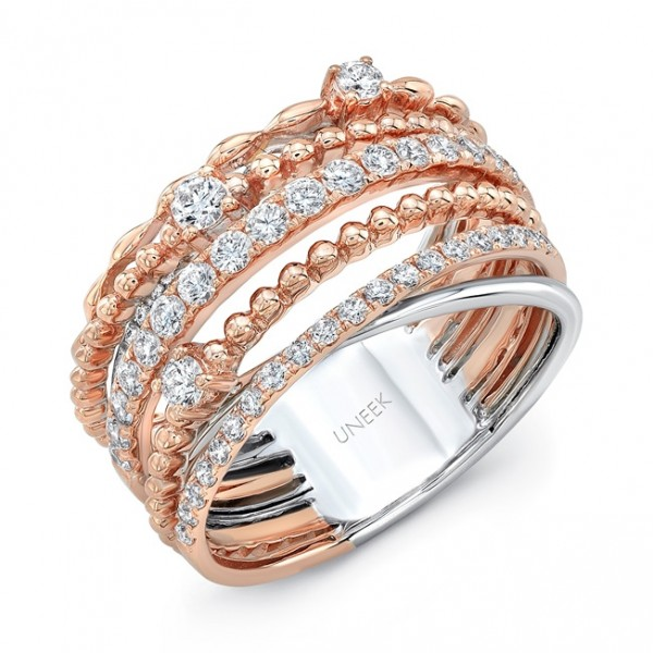 "Uneek ""Teneriffe II"" Crossover-Style Stack-Illusion Diamond Band, in 14K Two-Tone Gold"