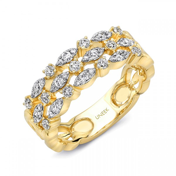 "Uneek ""Torchon"" Stack-Illusion Diamond Band in 18K Yellow Gold"