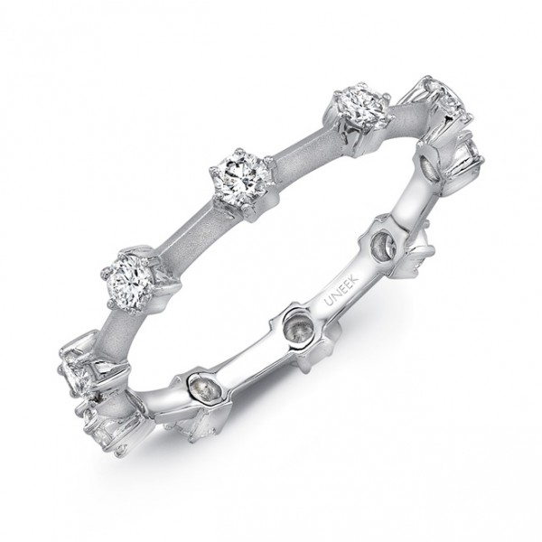 "Uneek ""Selma"" Stackable Diamond Band in 18K White Gold"