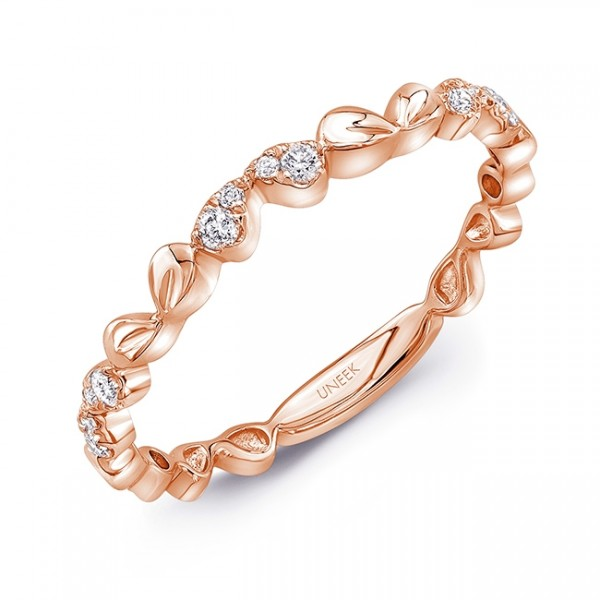 "Uneek ""Mariposa"" Stackable Diamond Band in 14K Rose Gold"