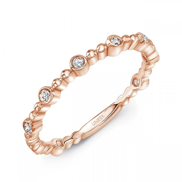 "Uneek ""Wilcox"" Stackable Diamond Band in 14K Rose Gold"