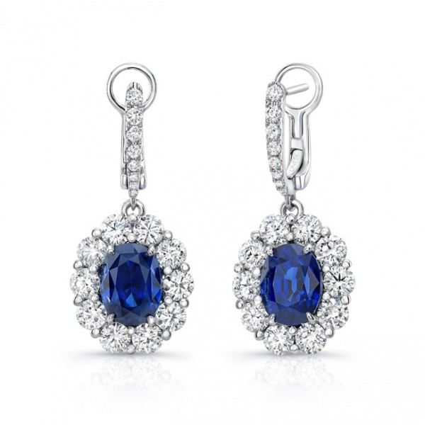 Uneek Oval Blue Sapphire Dangle Earrings with Scallop-Illusion Diamond Halos, in 18K White Gold