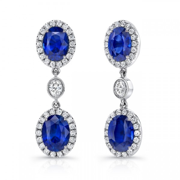 Uneek Oval Blue Sapphire Earrings with Oval Diamond Accents, in 18K White Gold