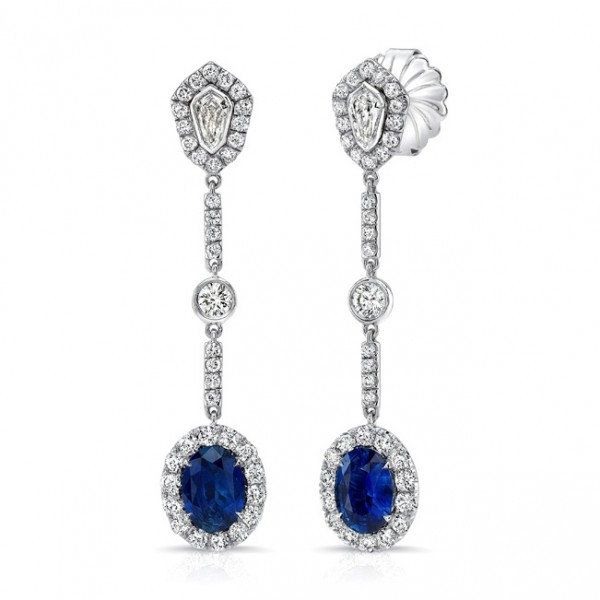 Uneek Oval Blue Sapphire Dangle Earrings with Kite-Shaped and Round Bezel Diamond Accents, in 18K Wh