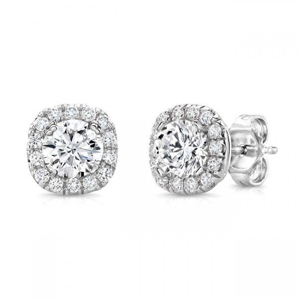 Uneek Round Diamond Stud Earrings with Cushion-Shaped Halos, in 14K White Gold