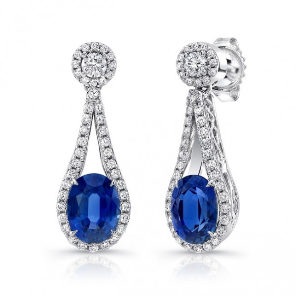 Uneek Oval Blue Sapphire Earrings with Teardrop-Shaped Diamond-and-Filigree Frames, in 18K White Gol