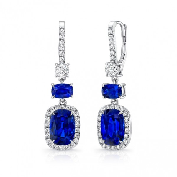 Uneek Cushion-Cut Blue Sapphire Dangle Earrings with Smaller Sapphire Accents, in 18K White Gold