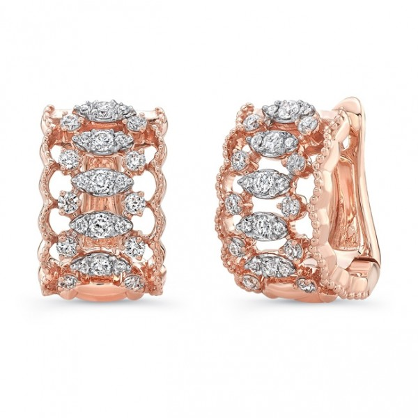 "Uneek ""Broderie Anglaise"" Open Lace Diamond Huggie Hoop Earrings in 18K Rose Gold"