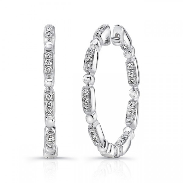 "Uneek ""Rodeo"" Petite Inside-Out Diamond Hoop Earrings in 18K White Gold"