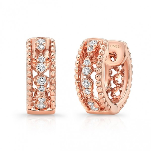 "Uneek ""Battenberg"" Petite Open Lace Diamond Huggie Hoop Earrings in 14K Rose Gold"