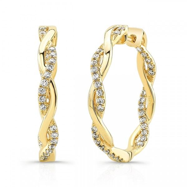"Uneek ""Loma Linda"" Petite Inside-Out Diamond Hoop Earrings in 18K Yellow Gold"