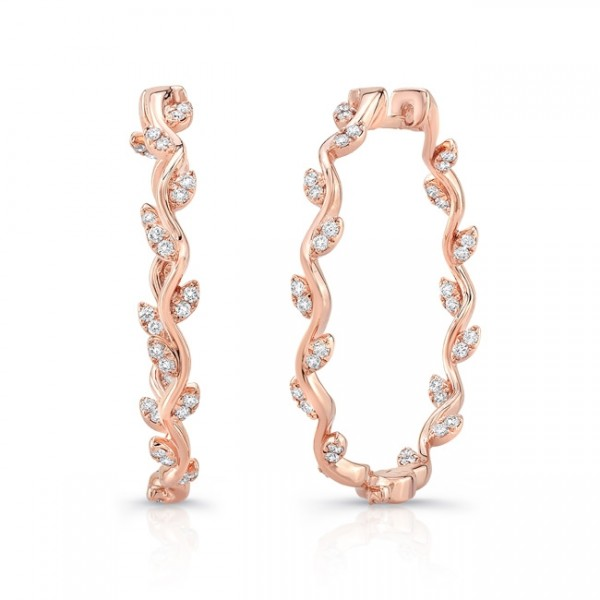 "Uneek ""Formosa"" Inside-Out Diamond Hoop Earrings in 14K Rose Gold"