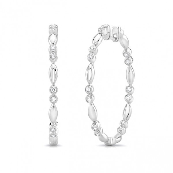 "Uneek ""Cahuenga"" Inside-Out Diamond Hoop Earrings in 14K White Gold"