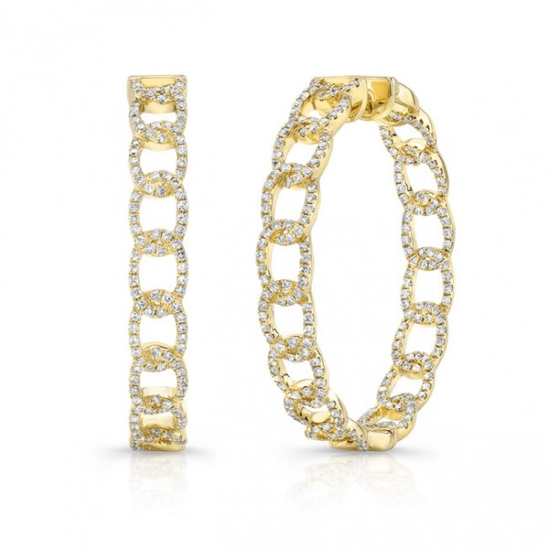 "Uneek ""La Mirada"" Inside-Out Diamond Hoop Earrings in 14K Yellow Gold"