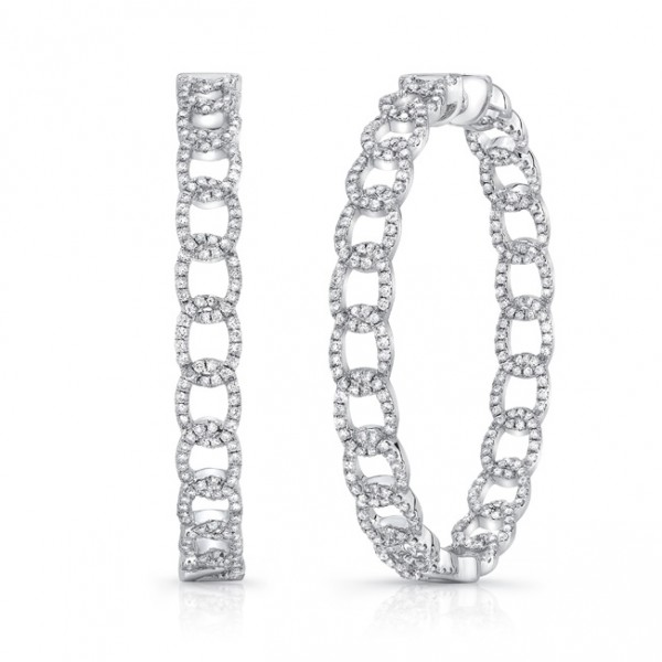 "Uneek ""La Mirada"" Inside-Out Diamond Hoop Earrings in 14K White Gold"