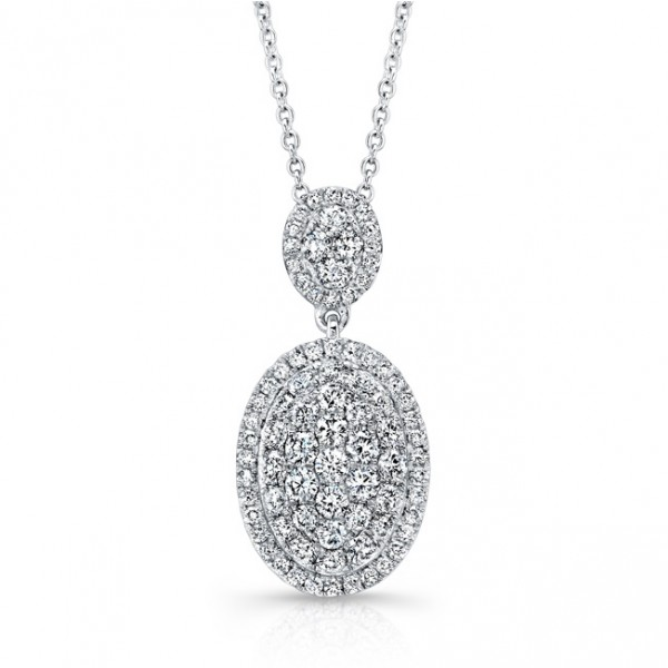 Uneek Double Oval Cluster Pendant in 14K White Gold