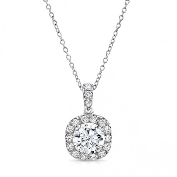 Uneek Round Diamond Pendant with Dainty Cushion-Shaped Halo, in 14K White Gold