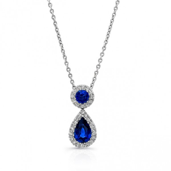 Uneek Pear and Round Blue Sapphire Pendant with Diamond Halos, in 18K White Gold
