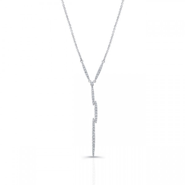Uneek Lightning Bolt Diamond Pendant in 14K White Gold