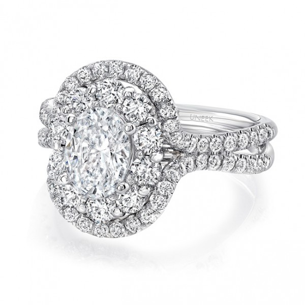 Uneek Oval Diamond Engagement Ring with Mixed Double Halo and Pave Double Shank, in 14K White Gold