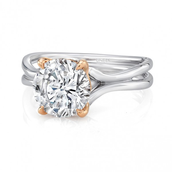 "Uneek Round Diamond Solitaire Engagement Ring with High Polish White Gold ""Silhouette"" Shank and Ros"