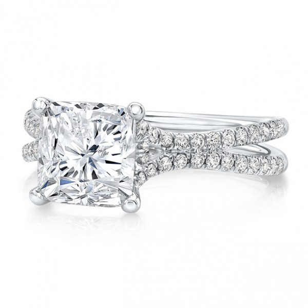 "Uneek 3-Carat Cushion Diamond Engagement Ring with Pave ""Silhouette"" Double Shank, in Platinum"