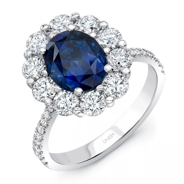 Uneek Oval Blue Sapphire Ring with Scallop-Style Diamond Halo and Tapered Shank, in 18K White Gold