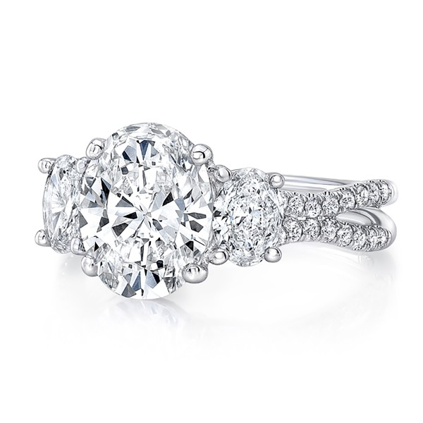 """Uneek Oval Diamond Three-Stone Engagement Ring with Pave """"Silhouette"""" Double Shank, in 18K White Gol"""