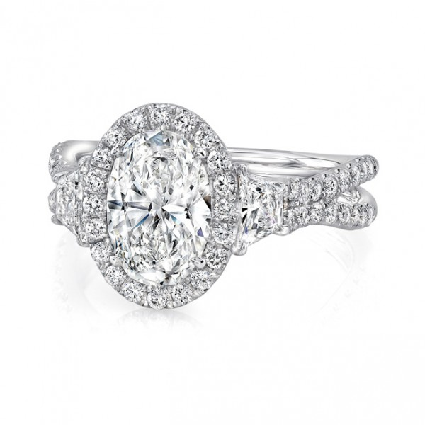 Uneek Oval-Center Three-Stone Engagement Ring with Pave Double Shank, in 18K White Gold