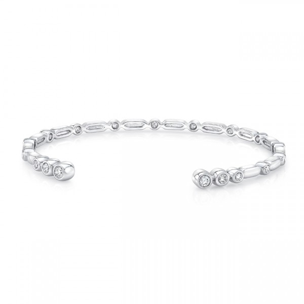 "Uneek ""Normandie"" Open Diamond Bangle in 14K White Gold"