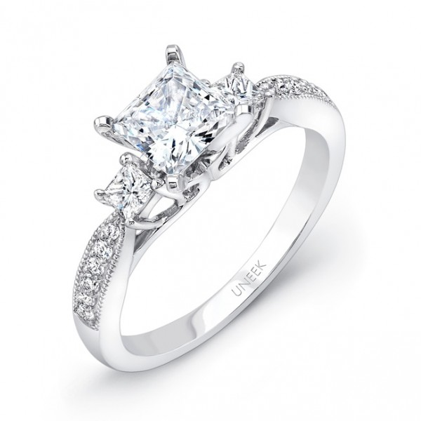 Uneek Princess-Cut Diamond Three-Stone Engagement Ring with Milgrain-Trimmed Pave Upper Shank, in 14