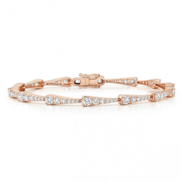 Uneek 18K Rose Gold Bracelet with Graduating Round Diamonds in Tapered Bars