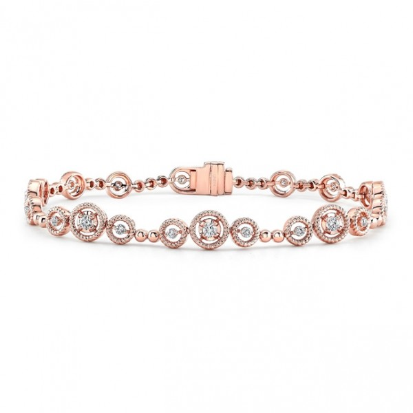 Uneek Mixed-Size Round Diamond Bracelet with Rope Milgrain Floating Halo Details, in 14K Rose Gold