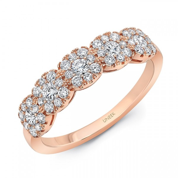 Uneek Diamond Band with Cushion-Shaped Clusters, in 18K Rose Gold