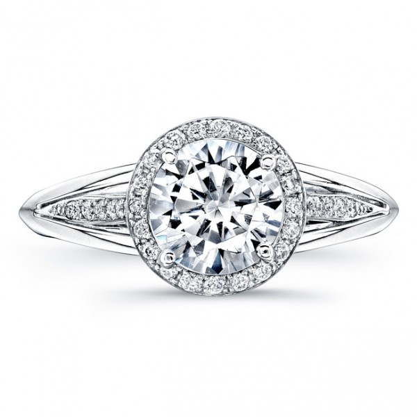 Uneek Round Diamond Halo Engagement Ring with Split Upper Shank and Cathedral Pavé Shoulder Detail,