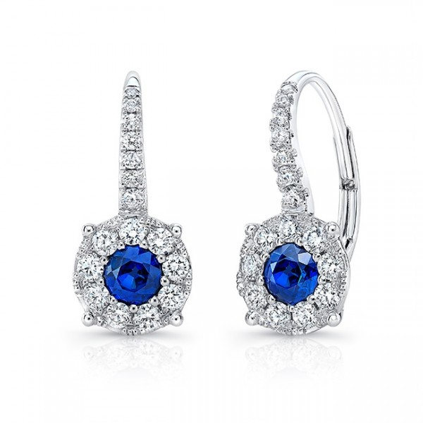 Uneek Round Blue Sapphire Leverback Earrings with Diamond Halos, in 18K White Gold