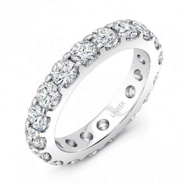 Uneek Round Diamond Eternity Band, 3.00 CTTW, in 14K White Gold