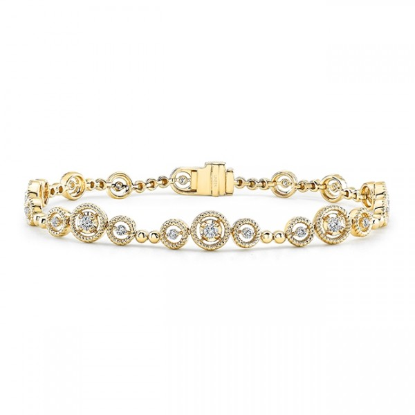 Uneek Mixed-Size Round Diamond Bracelet with Rope Milgrain Floating Halo Details, in 14K Yellow Gold