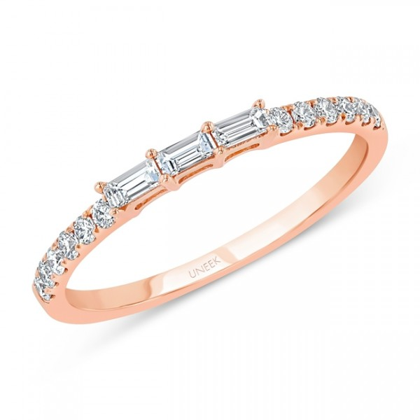 "Uneek ""Ashcroft"" Baguette and Round Diamond Stacking Ring, in 14K Rose Gold"