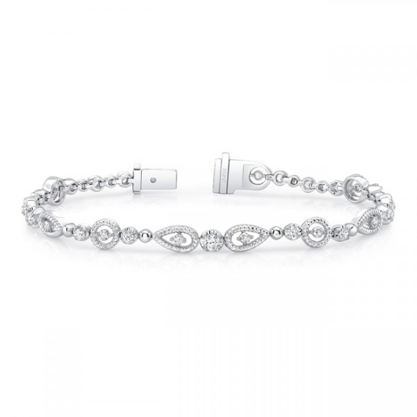 Uneek Round Diamond Bracelet with Round and Pear-Shaped Rope Milgrain Floating Halo Details, in 14K