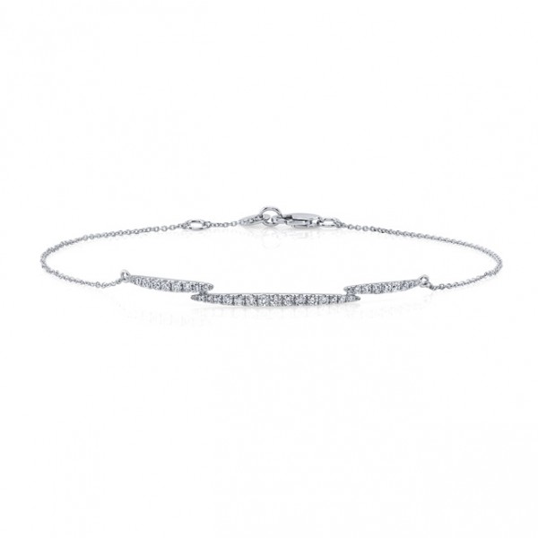 Uneek Diamond Bracelet with Overlapping Elongated Navette Clusters, in 14K White Gold