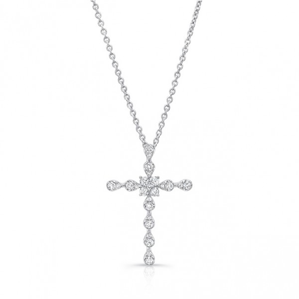 Uneek Stylized Cross Pendant with 0.30 Carats of Diamonds, in 14K White Gold