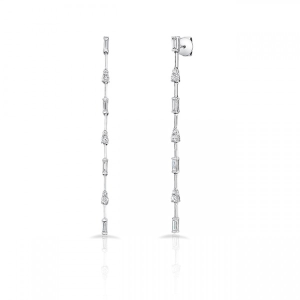 Uneek Cascade Collection Threader-Inspired Dangle Earrings with Baguette and Round Diamonds, in 18K