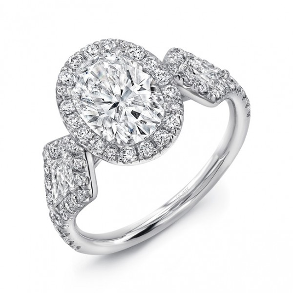 Uneek Three-Stone Ring with Oval Diamond Center and Kite-Shaped Sidestones, in Platinum