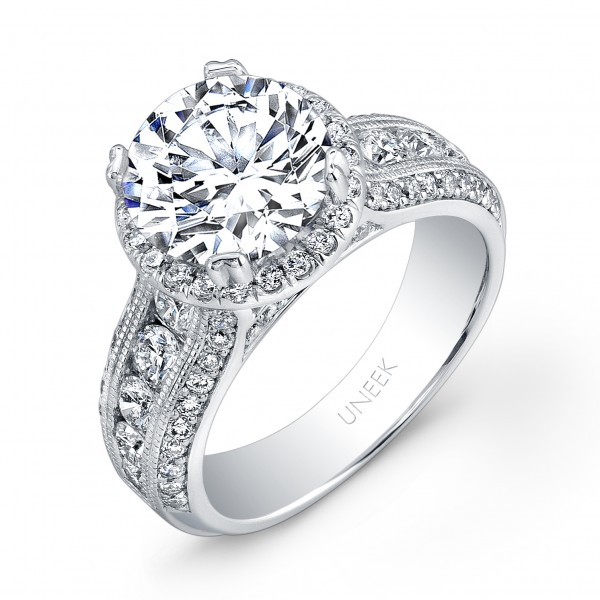 Uneek Round Diamond Wide-Band Halo Engagement Ring with Milgrain Accents and Three-Row Channel- and